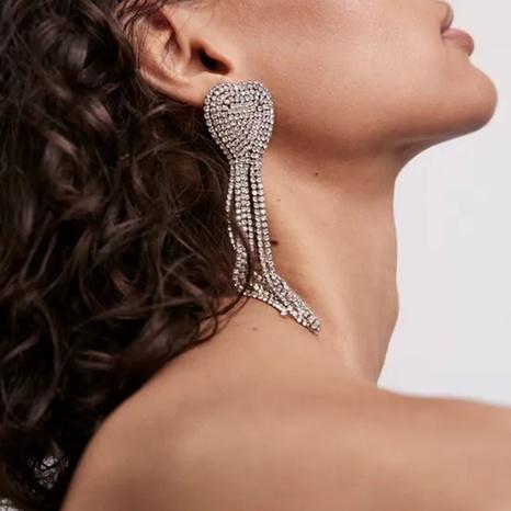 retro heart crystal long tassel claw diamond earrings wholesale Nihaojewelry NHLA414369's discount tags