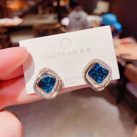 Korean blue crystal double earrings wholesale Nihaojewelry NHPF414443's discount tags