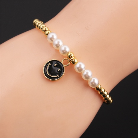dripping oil smiley face pendant pearl copper beaded bracelet wholesale nihaojewelry  NHYL414487's discount tags