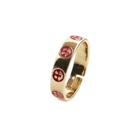 new fashion simple oil dripping open copper smiley ring wholesale nihaojewelry NHYL414510's discount tags