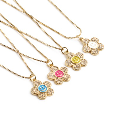 fashion inlaid zircon flower color oil dripping smiley face copper necklace wholesale nihaojewelry NHYL414529's discount tags