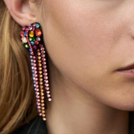 retro long heart clashing color rhinestone earrings wholesale Nihaojewelry NHLA414601's discount tags