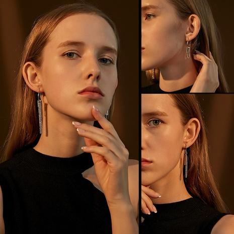 simple metal long tassel asymmetrical chain earrings wholesale Nihaojewelry NHDP414623's discount tags