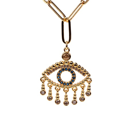 collar de circón con incrustaciones de cobre colgante de ojo de diablo al por mayor nihaojewelry NHPY414642's discount tags
