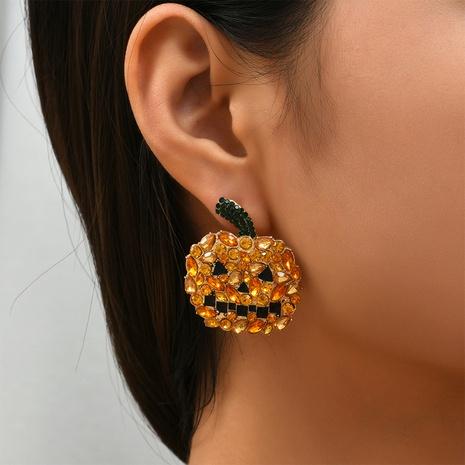 Halloween orange pumpkin ghost earrings wholesale Nihaojewelry NHYAO414742's discount tags
