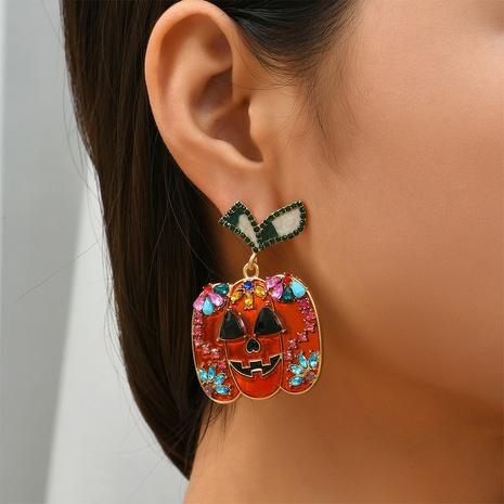 Halloween pumpkin diamond earrings wholesale Nihaojewelry NHYAO414743's discount tags