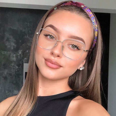simple color metal thin frame anti-blue light spring flat mirror glasses wholesale nihaojewelry NHFY414771's discount tags