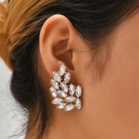 fashion full diamond hollow leaf earrings wholesale Nihaojewelry NHYAO414847's discount tags