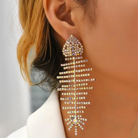 fashion diamond fish bone earrings wholesale Nihaojewelry NHYAO414848's discount tags