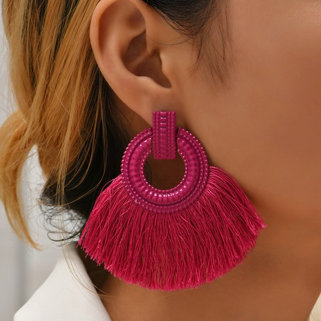 ethnic solid color tassel geometric earrings wholesale Nihaojewelry NHYAO414850's discount tags
