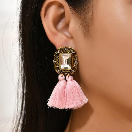 ethnic geometric diamond wool tassel earrings wholesale Nihaojewelry NHYAO414851's discount tags