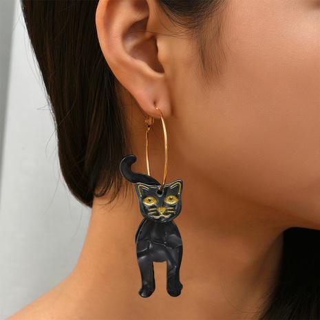 Halloween black cat earrings wholesale Nihaojewelry NHYAO414853's discount tags