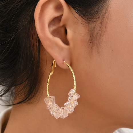fashion geometric circle transparent crystal earrings wholesale Nihaojewelry NHYAO414854's discount tags