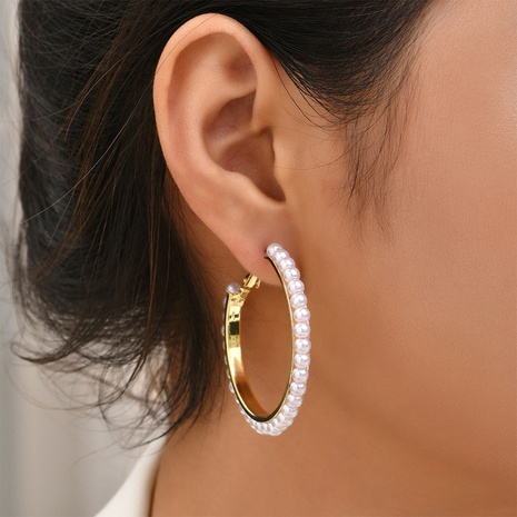 fashion pearl circle earrings wholesale Nihaojewelry NHYAO414855's discount tags