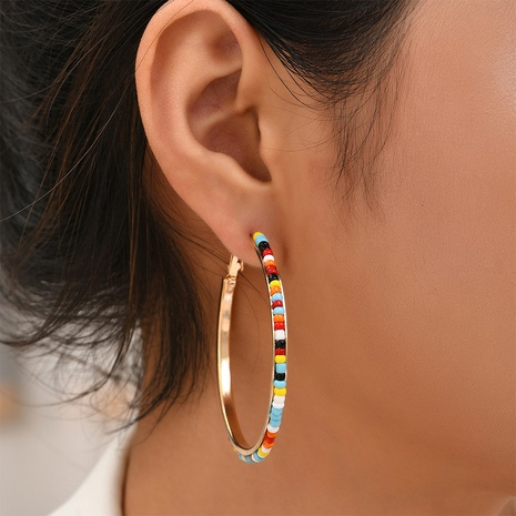 fashion clashing color beads round earrings wholesale Nihaojewelry NHYAO414856's discount tags