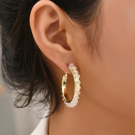 fashion transparent beads circle earrings wholesale Nihaojewelry NHYAO414858's discount tags