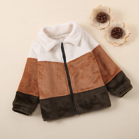 wholesale children's winter long-sleeved fluffy lapel stitching jacket Nihaojewelry NHUS397329's discount tags