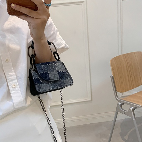casual hit color denim chain one-shoulder handbags wholesale Nihaojewelry NHUA397384's discount tags