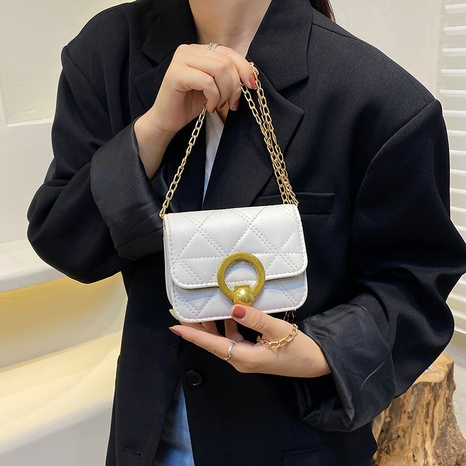 wholesale solid color round metal button chain messenger square bag Nihaojewelry NHUA397451's discount tags