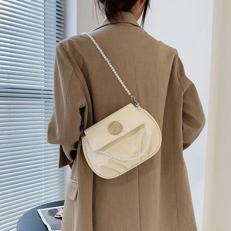 wholesale fashion female bag pearl chain single shoulder messenger saddle bag NHUA397463's discount tags