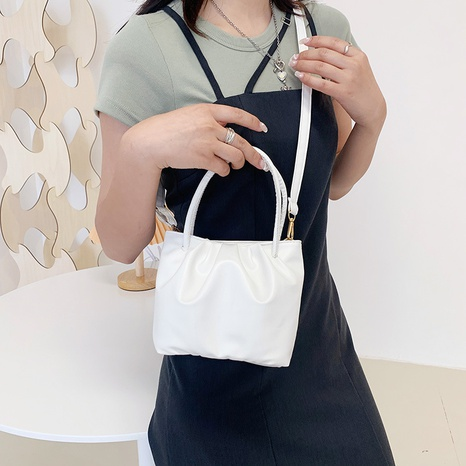 wholesale solid color soft fold bucket messenger bag Nihaojewelry NHUA397465's discount tags