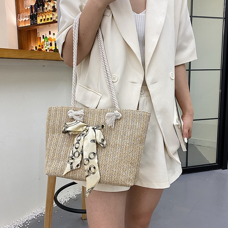 new popular large-capacity woven single shoulder tote bag wholesale nihaojewelry NHUA397467's discount tags