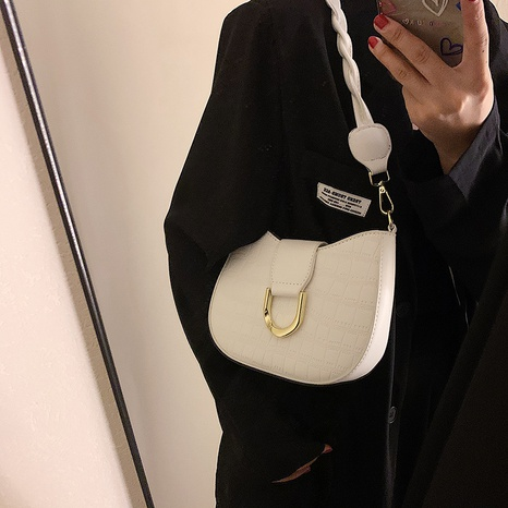 stone pattern twist shoulder strap solid color underarm bag wholesale Nihaojewelry NHLH397613's discount tags