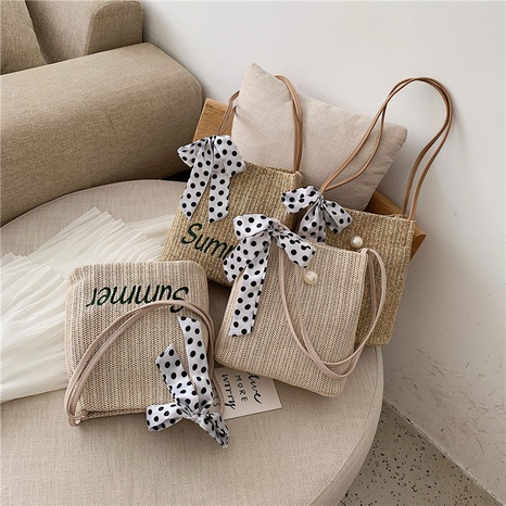 wholesale dots print silk scarf bow one-shoulder messenger woven small straw bag nihaojewelry  NHGN397730's discount tags
