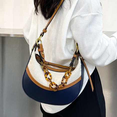 hit color acrylic thick chain canvas armpit bag wholesale Nihaojewelry NHTG397782's discount tags