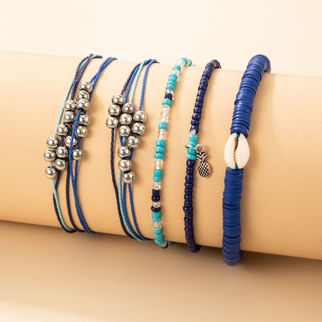 wholesale fashion simple color beads white shell bracelet set Nihaojewelry  NHGY398123's discount tags