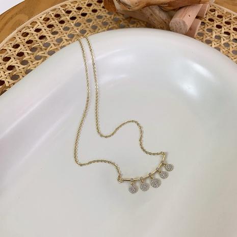 wholesale round arc smile zircon pendant copper necklace Nihaojewelry NHMS398001's discount tags