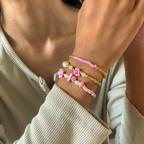 daisy imitation pearl stitching rice bead ethnic style bracelet 3-pieces set wholesale jewelry Nihaojewelry NHXR398032's discount tags
