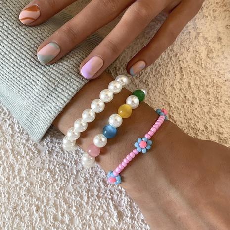beaded daisy imitation pearl fashion bracelet 3-pieces set wholesale jewelry Nihaojewelry NHXR398034's discount tags