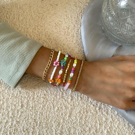 rice bead daisy flower chain bracelet set wholesale jewelry Nihaojewelry NHXR398036's discount tags