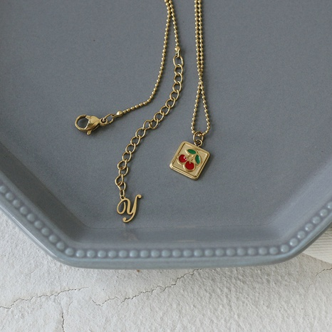 wholesale small cherry enamel square  titanium steel gold plated necklace Nihaojewelry NHGC398105's discount tags
