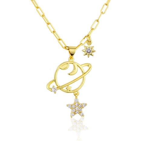 fashion planet moon inlaid zirconium titanium pendant wholesale nihaojewelry NHBP398138's discount tags