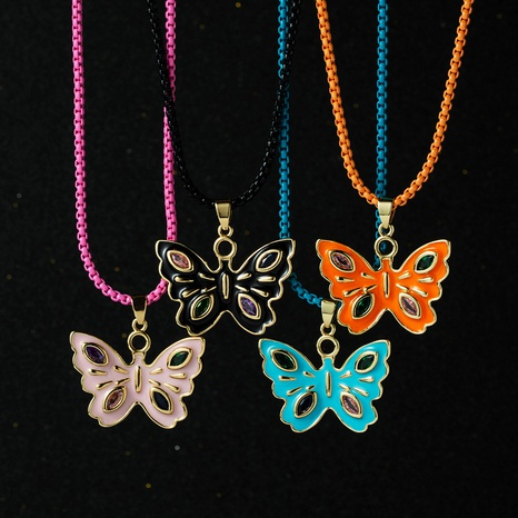 wholesale copper gold-plated inlaid diamond butterfly necklace Nihaojewelryc NHYIS398201's discount tags
