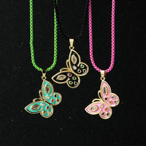 wholesale color chain butterfly pendant zircon copper necklace Nihaojewelry NHYIS398200's discount tags