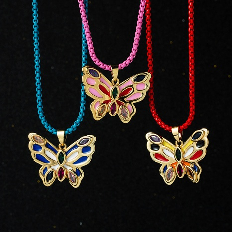 wholesale color zircon butterfly copper necklace Nihaojewelry NHYIS398204's discount tags