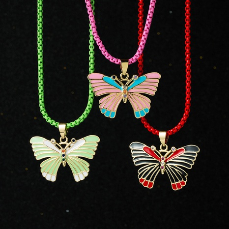wholesale color oil drop butterfly pendant gold electroplated copper necklace Nihaojewelry NHYIS398205's discount tags