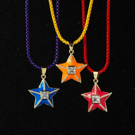 wholesale five-pointed star pendant copper necklace Nihaojewelry NHYIS398206's discount tags
