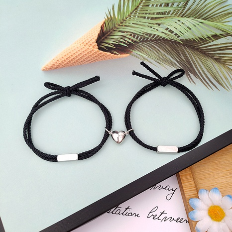 stainless steel alloy heart magnet attracts couple bracelet a pair wholesale jewelry Nihaojewelry NHZR398246's discount tags