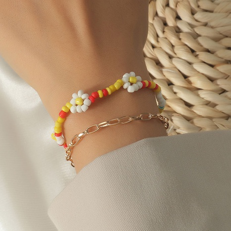 hand-woven rice beads flower double-layer bracelet wholesale jewelry Nihaojewelry NHLA398290's discount tags