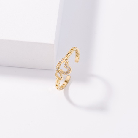 heart-shaped simple inlaid zircon ring wholesale jewelry Nihaojewelry NHDB398375's discount tags