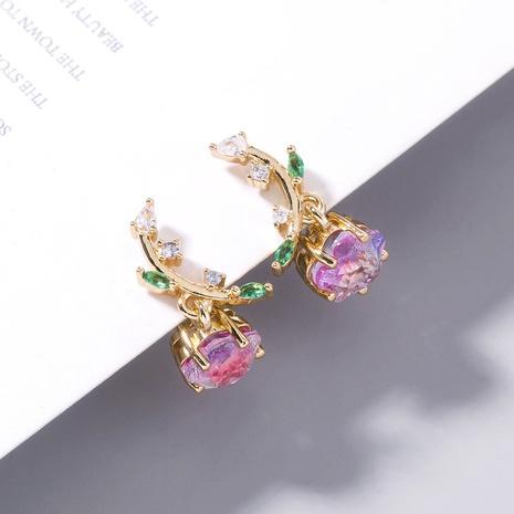 wholesale fruit pink purple plum blossom zircon copper earrings Nihaojewelry NHDB398387's discount tags