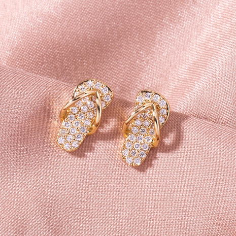 wholesale micro-inlaid zircon slippers copper earrings Nihaojewelry NHDB398388's discount tags