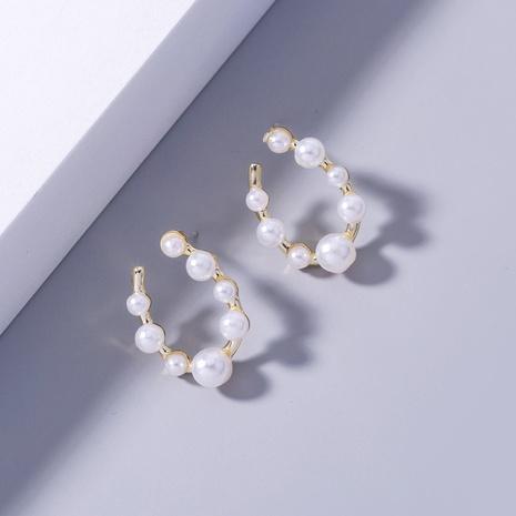 wholesale simple geometric U-shaped pearl copper earrings Nihaojewelry NHDB398389's discount tags