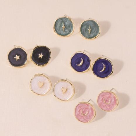wholesale Moda goteando aceite corazón luna estrella aretes anillo collar Nihaojewelry NHYIA398397's discount tags