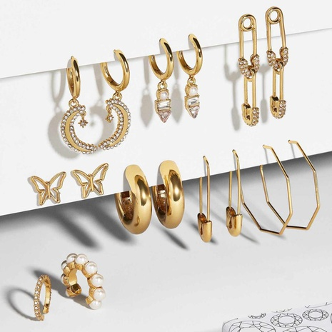 wholesale fashion pin butterfly stars moon copper buckle earrings set Nihaojewelry  NHYIA398409's discount tags