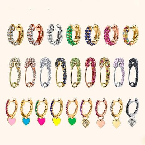 wholesale fashion diamond brooch copper buckle peach heart earrings Nihaojewelry  NHYIA398423's discount tags